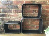 3x Industrial Vintage Floating Shelf Shelving Racks Storage Wall Cabinet Units
