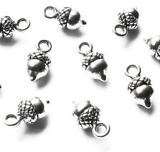 10 Mini Little Acorn Charms 13mm x 6mm, Silver Plated, Winter Christmas Craft