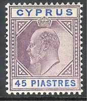 Cyprus 1902 dull-purple/ultramarine 45 piastres mint SG59