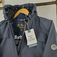 NWT BARBOUR $269 Womens Large Marloes Full Zip Hooded Navy Casual Jacket Coat