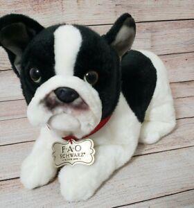 FAO Schwarz Boston Terrier Dog Plush Puppy Stuffed Animal Red Collar NWOT