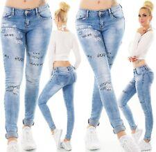 Ocassion Jeans 2-Teiler Jeansjacke Röhrenhose Damenhose Blazer Blau Weiß XS-L