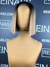 SYNTHETIC LACE FRONT WIG BOB STRAIGHT HAIR SILKY LISO BLONDE MIX 10 INCHES