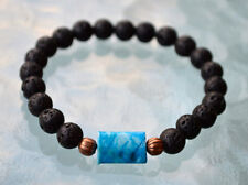 Black Basalt Lava Stone Crazy Lace Agate Wrist Mala Beads Bracelet - Grounding,