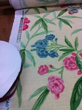 A.L.DIAMENT & CO YELLOW LINEN ASIAN FLORAL UK HAND PRINT FABRIC 3YDS avail OMG