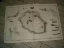 Vintage Admiralty Chart 1497 REUNION ISLAND 1860 edn