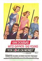 FOR LOVE OR MONEY MOVIE POSTER 27X41 On Linen 1963  KIRK  DOUGLAS MITZI GAYNOR
