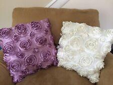 3D Flower Rose Petal Satin Square Decorative Throw Pillow Cover Set Accent Decor