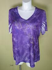 Essentials NWT S/Sleeve Purple Tie Dye Style Top w/ Rhinestones & Studs Sz 1X