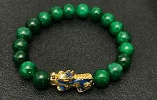 Spiritual Lucky Brave Troops Charms Pixiu Green Jade Beaded Bracelet for Wealth