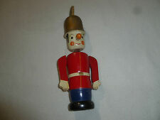 Vintage Wooden Toy Soldier Nodder Coin Bank Wood Bobble Head Doll Figure Antique