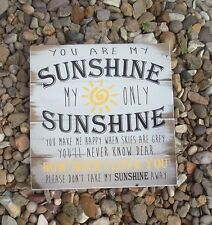 shabby vintage chic you are my sunshine nursery playroom  sign plaque 8x8