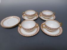 Jean Pouyat Antique Set of 4 Cream Soup Bowls and 6 Saucers Pink Roses Gold