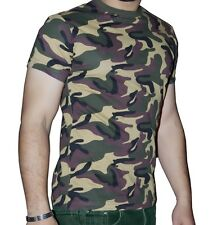 SHORT SLEEVE MILITARY FANCY DRESS ARMY CAMOUFLAGE T SHIRT TOP ARMED FORCES STAG