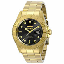 Invicta Men's Watch Pro Diver Quartz Black Dial Yellow Gold Bracelet 29946