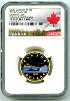 2019 $1 CANADA SILVER PROOF LOONIE DOLLAR NGC PF70 GILT COLORED LOON FR RARE !