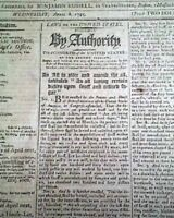 PRESIDENT GEORGE WASHINGTON Script Signed Act of Congress DUTIES 1795 Newspaper