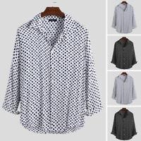 INCERUN Mens Polka Dot Button Down Long Sleeved Shirt Retro Party Hippy Shirts