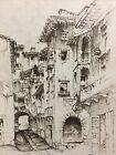 Beautiful Vintage Print Pisa Italy 1932 Court Street Scene John Taylor Arms Art
