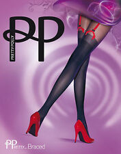 PRETTY POLLY BRACED MOCK SUSPENDER RED STYLISH FUNKY TIGHTS PANTYHOSE