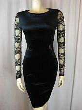 Jane Norman Black Velvet Open Back Bodycon Dress Sizes 6 8 10 12 16
