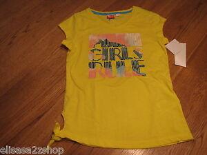 "Puma girls active t shirt PGM27181 Buttercup Yellow S ""Girls Rule"" NWT *^"