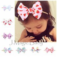 Newborn Girl Baby Nylon Waffle Tie Messy Mini Bow Head Wrap Turban Headband Hair