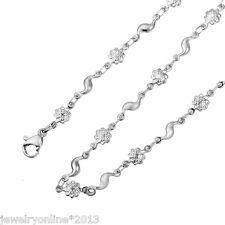 1 Edelstahl Kette Halskette Silber Blitz Blumen Karabinerverschluss 50cm