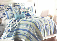 2-pc ☆ TROPICAL FISH ☆ Twin Quilt Striped Catalina Beach House Coastal