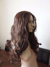chestnut brown wavy curly 3/4 half head long hair wig on half cap fancy dress