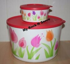 Tupperware XLarge Container Tulip Twist, Stack & Store Seal Set 2 New