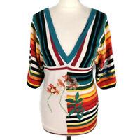 Desigual Size M 10 Multicoloured Striped Embroidered Jumper V Neck Front Back