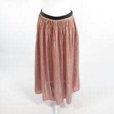 Pink black satin RHIE shimmery full skirt 6