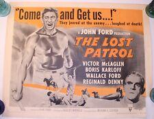 Ultra Rare VTG Movie Poster 1954 The Lost Patrol Boris Karloff Horror Terror HTF