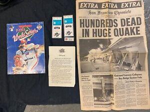 1989 WORLD SERIES PROGRAM TICKET STUB GAME 3 & 4 A's GIANTS EARTHQUAKE NEWSPAPER