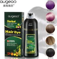 2 Bottles Augeas Herbal 3 in 1 (500ml) Hair Dye Shampoo Black DHL Express