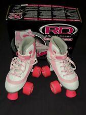 Roller Derby Firestar sz 1 Girls Roller Skates - Pink, White - gift giving cond.