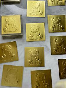 LOT Vintage 100 Hallmark Gold Foil Teddy Bear Baby Newborn Seal Stickers Boxes
