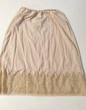 Van Raalte M Medium Half Slip Vintage Nylon Silky Short Nude Beige Lace Trim