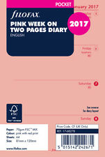Filofax 2017 Pocket Size Diary - Week On Two Pages Pink Insert Refill 17-68278