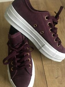 Converse All Star Trainers . Leather Platform Exc Condition. Size 4 . Low Top