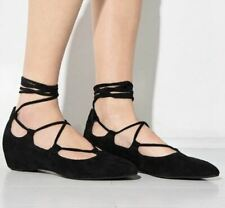 Jeffrey Campbell Womens 8.5 Atsuko Lace Up Flats Black Suede Pointed Toe Shoes
