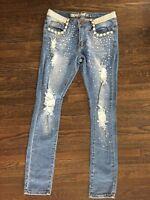 NWT Machine Pour Neuf Mode Womens Sz 7/29 Rhinestone Distressed Skinny Jeans