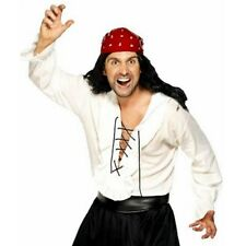 PIRATE Shirt MENS Costume WHITE Satin LACE-UP Frill BUCHANEER Fancy DRESS