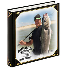 Personalised large photo album, guestbook, Born to fish forced to work present