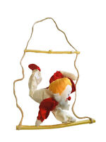 Vintage Russ Berrie Clown Swinging From  Trapeze Bar Hanging Rope Room Decorate