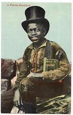 A FLORIDA Bootblack Shoe Shine Boy in Tophat Black Americana 1910s Postcard