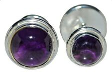 Sterling SILVER Purple Amethyst Cufflinks Double Sided Mens 925 Jewelry Gift NEW