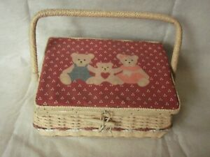 Sewing basket with accessories notions wicker teddy bears with handle