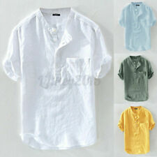 Mens Short Sleeve Collarless Linen Cotton Henley Shirts Casual Slim Fit Tee Tops